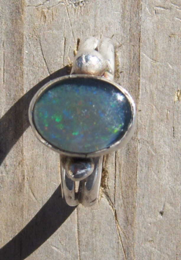 FREE SHIPPING!! handcrafted sterling silver ring set with a natural Australian opal triplet cabochon. Ring was crafted in the 1980's