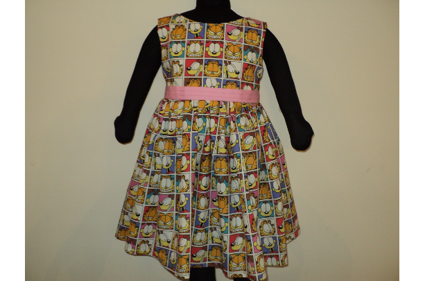 NEW Handmade Rared Garfield The Cat Patchworks Dress Custom Sz 12M-14Yrs