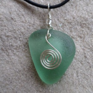 sea glass necklace w spiral charm