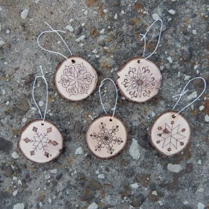 Wood Burned Snowflake Christmas Ornaments- Set of 5
