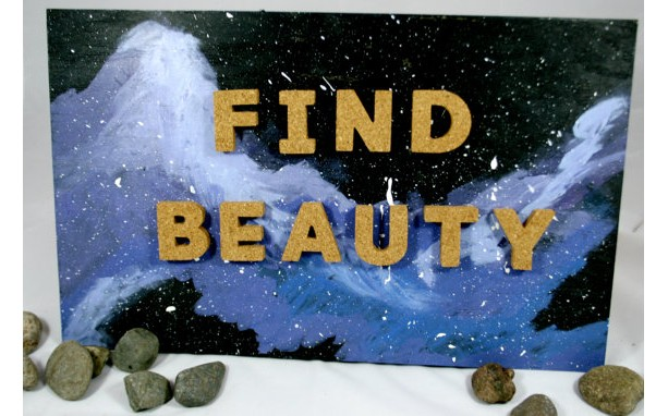 Hand Painted Galaxy Sign with Cork Letters
