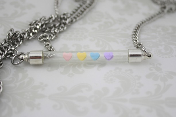 Conversation Heart Floating Necklace - Valentine's Day - Valentine - Pastels - Gifts For Her - Polymer Clay - Unique - Modern - Minimalist