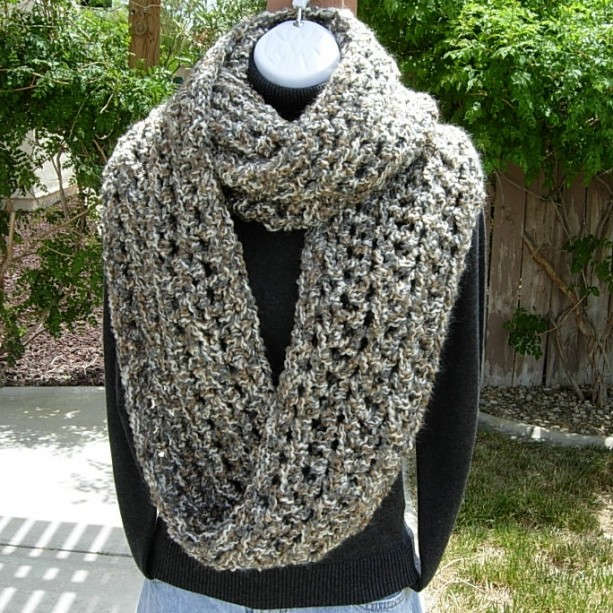 Giant Infinity Scarf -- Thick Large Bulky Gray, Brown, Off White
