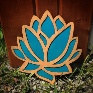 "Intricate 12"" Wood and Teal Lotus Flower Wall Art"