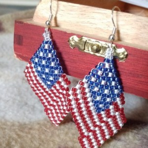 Memorial Day 4th of July Beaded American Flag Earrings Stars Stripes Patriotic Red White Blue Dangle Earrings Support Our Troops