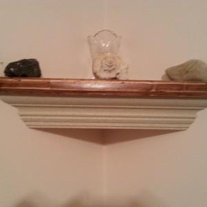Crown molding corner shelf with stone finish