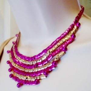 Gold Fuchisa Hand Painted Vintage Necklace Choker