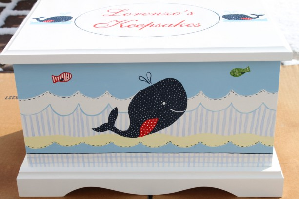 Keepsake chest baby memory box personalized - Nautical Whales baby gift