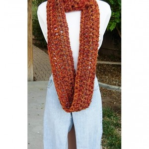 Women's Infinity Scarf, Loop Cowl, Rust, Brown, Gold, Burnt Orange Extra Soft Warm Bulky Thick Winter Crochet Knit Circle, Ready to Ship in 3 Days