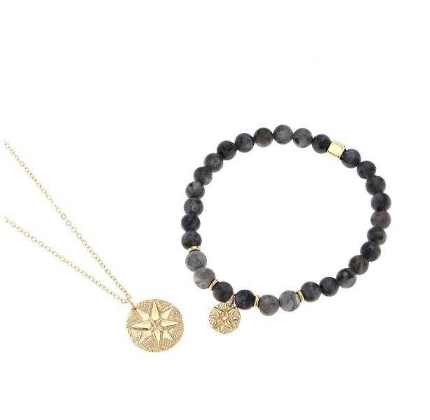 Men's Jewelry Set - Men's Bracelet - Men's Necklace - Men's Beaded Bracelet - Men's Compass Bracelet - Men's Gold Necklace - Men's Jewelry