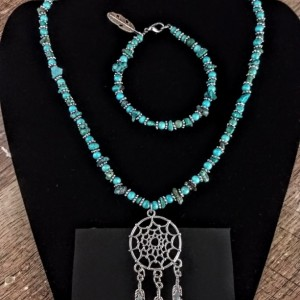 Turquoise and Sterling Silver Dream Catcher Set