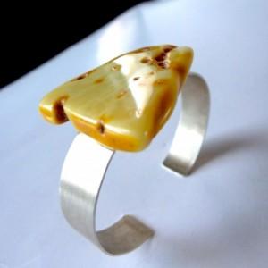 Baltic Amber Bracelet , Sterling Silver Bracelet . Modern Jewelry .