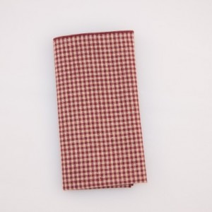 Pocket Square  - Burgundy/Cream Small Check