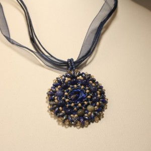 Sapphire Blue and Sodalite Stone Crystal Pendant on Ribbon Necklace