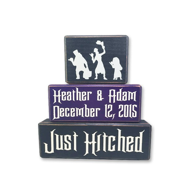 Disney Haunted Mansion hitchhiking ghost wedding just hitched personalized custom centerpiece disney just hitched