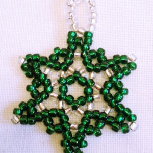 3 Beaded Snowflake Ornaments,  Green, Silver Handmade Seed Bead Christmas Ornament, Christmas Tree Decoration, Holiday Ornament, Christmas Gift