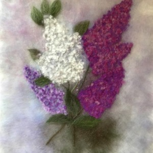 "Wool Painitng ""Branch of lilacs"""