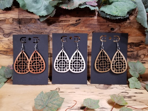 Boho Wooden - Teardrop Dangle Style - Laser Cut - Lightweight- Birthday Gift - 3 Finishes Available - Natural, Brown or Lt Red Stained
