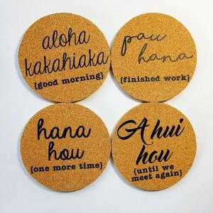 Hawaii Phrases Coaster Set ~ Pau Hana ~ A Hui Hou ~ Aloha Kakahiaka ~ Hana Hou ~ Hawaii Coaster Set