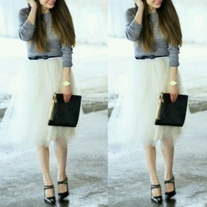 White layered midi very full tutu tulle skirt