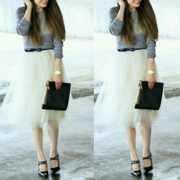 White layered midi very full tutu tulle skirt