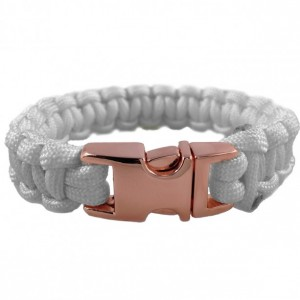 White Designer Unisex Braided Survival Mil-Spec Type III 550 Parachute Cord with Full Metal Alloy Quick Detach Buckle (Rose Gold)