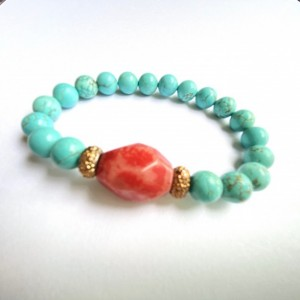 Turquoise & Coral Stone Bracelet