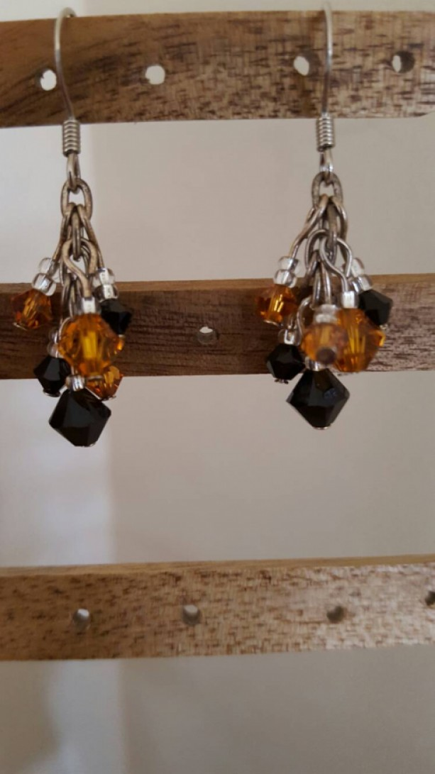 Orange and Black Crystal Cluster Earrings