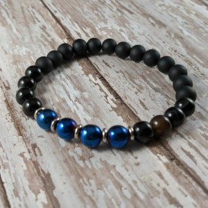 The Kyle | handmade beaded stretch bracelet, black glass, black striped agate, blue hematite, stainless steel, men's / unisex, Gifts for Him