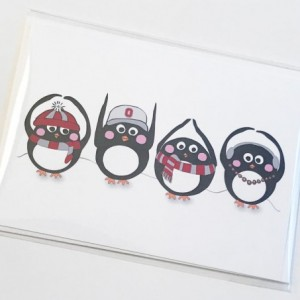 Set of three (3) OHIO Penguin blank greeting cards. Penguin card. Blank greeting card. Ohio State card. Ohio State Buckeyes. OSU card. OHIO card.