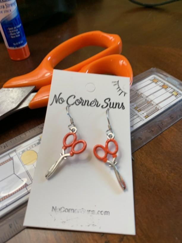 Art Teacher earrings - Fiskers orange handle scissors- free shipping