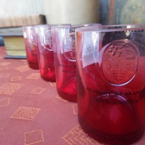 Ciroc Bottle Upcycled Shotglasses, Set of4, Red