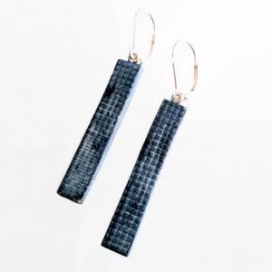 Bar Earrings Denim Dark Wash or Stonewashed REVERSIBLE Clay Minimalist Jewelry
