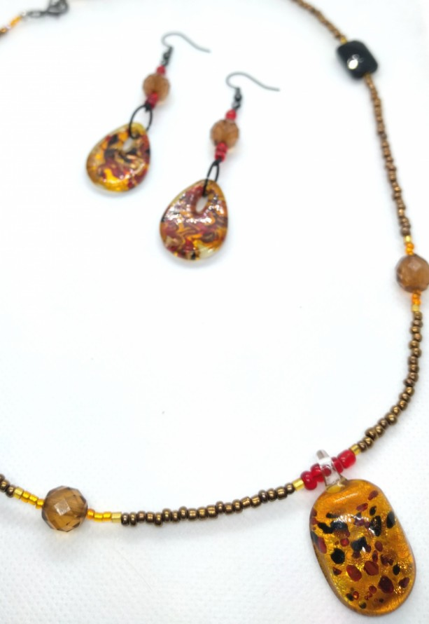 Orange Red and Black Glass Pendant Seed Bead Necklace and Glass Teardrop and Bead Drop Earring Set