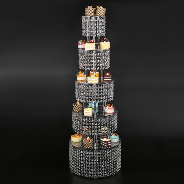 glamorous Cupcake tower - Parties Supplies for a, Birthday Party, Bridal Shower or Wedding 5 Tier made with high clarity genuine crystal