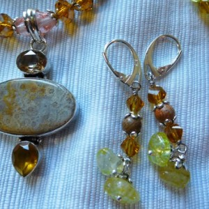 Jasper/citrine stone Necklace in the center Sterling Silver Overlay Coral fossil citrine stones pendant and matching earrings set.#NBES0104