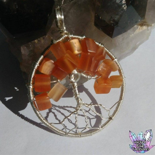 Autumn Cats Eye Quartz Tree of Life Pendant / Nature Jewelry / Fall Jewelry / Tree of Life Jewelry