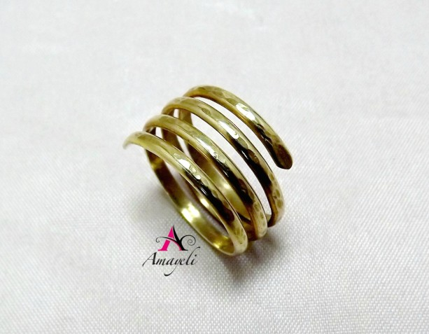 Brass Gold wrap ring midi ring stack ring stacking rings layers
