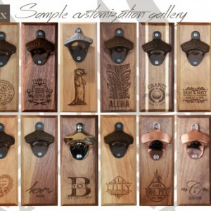 Bottle Opener Magnetic Cap Catcher Handcrafted Alder Wood With Antique Bronze Custom Text