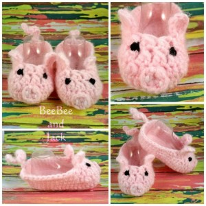 Crochet Piggy Booties 3-6 Months