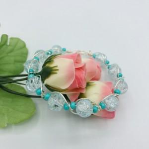 Silver and Aqua Bangle Bracelet