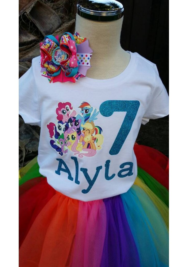 Personalized My little pony ribbon trimmed tutu set, My little p ...