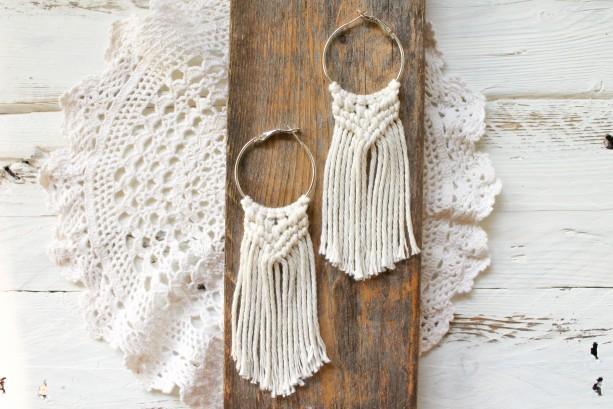 Sun & Sand Macrame Earrings - Boho Earrings - Cotton Earrings - Natural Earrings - Macrame Jewelry - MADE TO ORDER