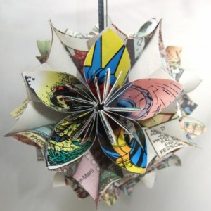 Upcycled X-Men Comic Large Origami Ornament, Comic Wedding, Comic Decor, Christmas Tree Ornament, Geeky Ornamet, Comic Decor, X-Men Decor