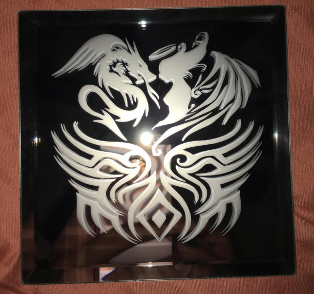Tribal Dragon VS Angel Mirror Glass Etching