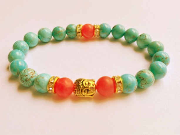 Coral Rhodonite & Turquoise Buddha Bracelet