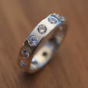 Unisex Solid Sterling Silver Cubic Zirconia ETERNITY / ANNIVERSARY BANDS