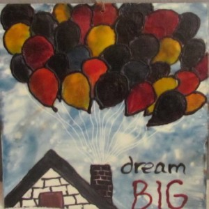 Dream Big - Balloon House Encaustic Pop Wax Art Painting - Free Shipping - 12 x 12