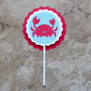 Nautical Themed Crab Cupcake Toppers- 24 pack