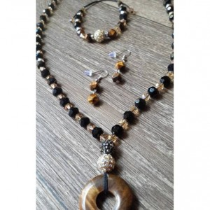 Beaded Necklace with Tiger Eye Gemstone Pendant, Matching Earrings and Bracelet Set | Tiger Eye Jewelry Set | Beaded Gemstone Jewelry Set